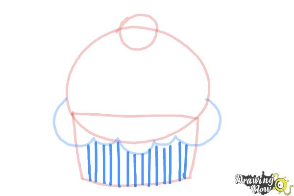 How to Draw a Cute Cupcake - Step 4