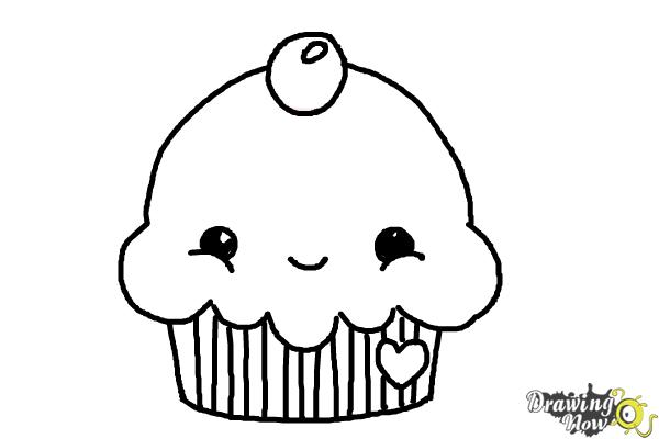 How to Draw a Cute Cupcake - Step 7