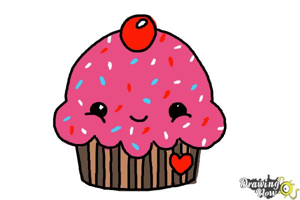 How to Draw a Cute Cupcake - Step 8