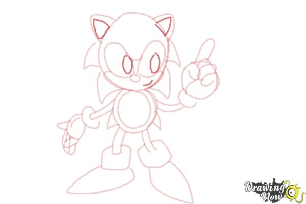 How to Draw Classic Sonic - Step 13