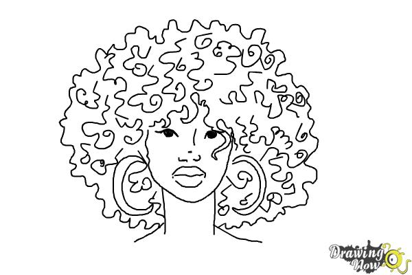 How to Draw African American Hair - Step 6