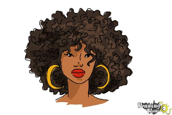 How to Draw African American Hair - Step 7