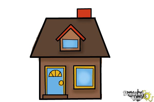 How to Draw a House For Kids - Step 10