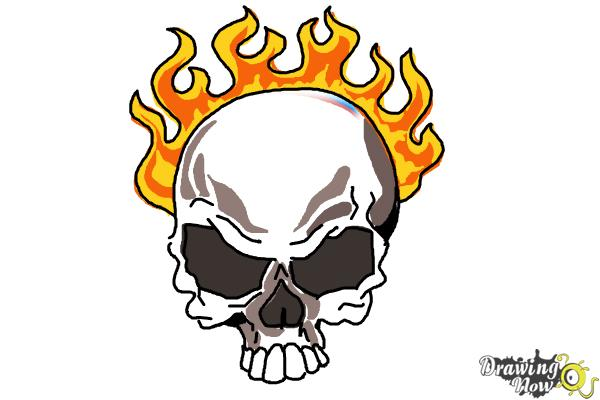 How To Draw A Skull On Fire Drawingnow
