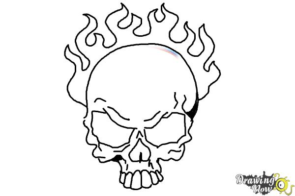 How to draw a skull on fire step 9