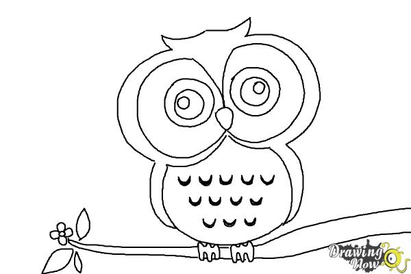 How to draw an owl for kids step by step for Step by step drawing an owl