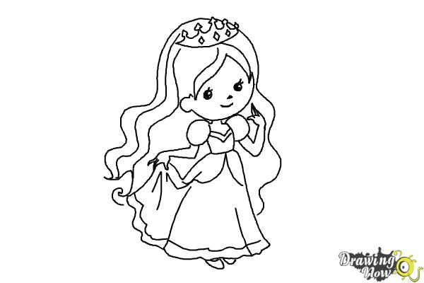 How to Draw a Princess For Kids - Step 12