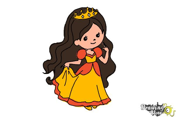 How to Draw a Princess For Kids - Step 13