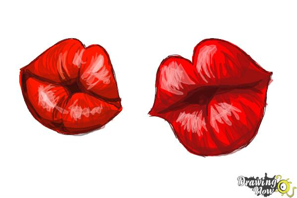 How To Draw Puckered Lips Drawingnow