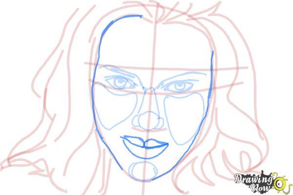 How to Draw Scarlett Johansson - Step 10