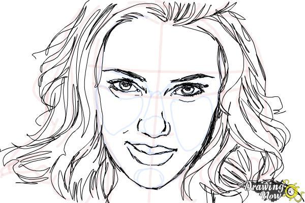 How to Draw Scarlett Johansson - Step 11