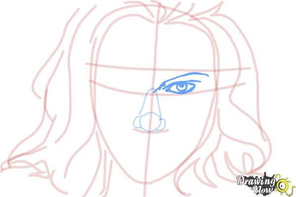 How to Draw Scarlett Johansson - Step 7