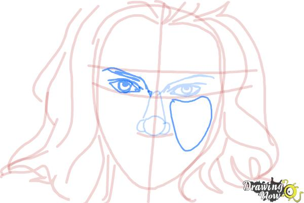 How to Draw Scarlett Johansson - Step 8