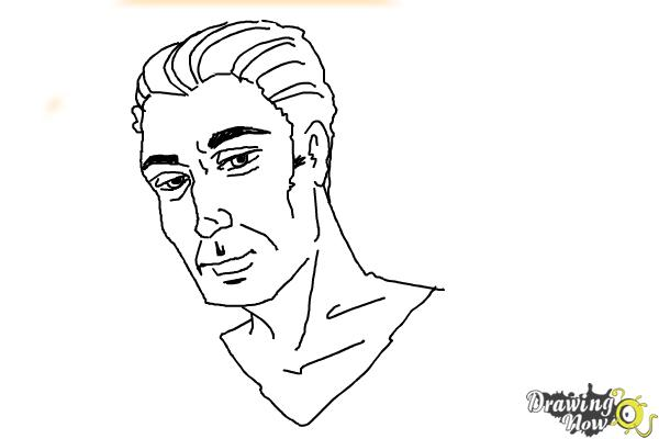 How to Draw Slicked Back Hair - Step 12