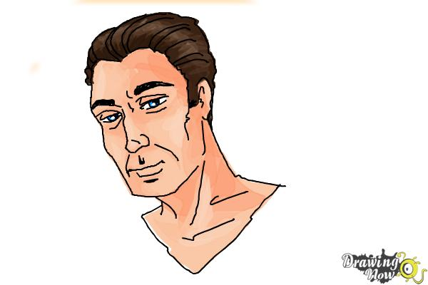 How to Draw Slicked Back Hair - Step 13