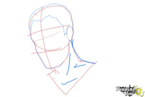 How to Draw Slicked Back Hair - Step 7