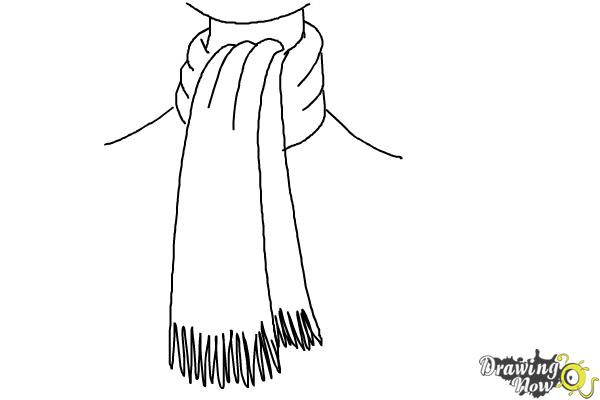 How to Draw a Scarf - Step 10