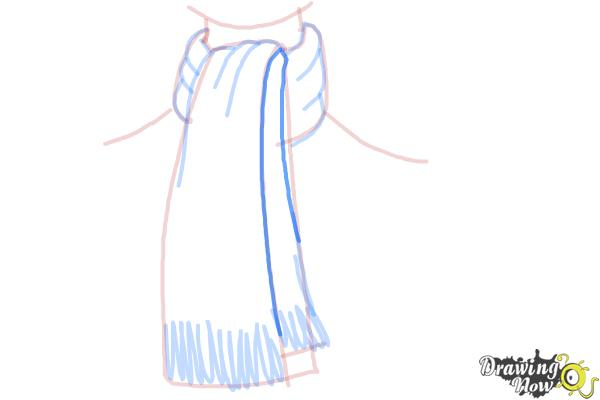 How to Draw a Scarf - Step 9