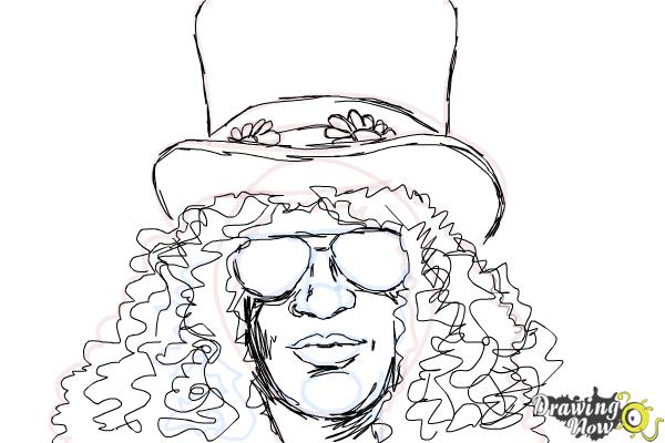 How to Draw Slash, Saul Hudson - Step 10