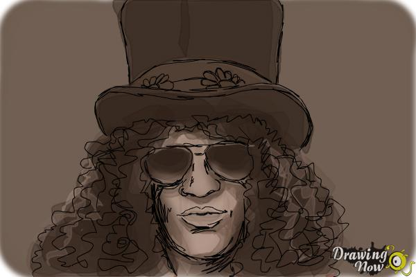 How to Draw Slash, Saul Hudson - Step 11
