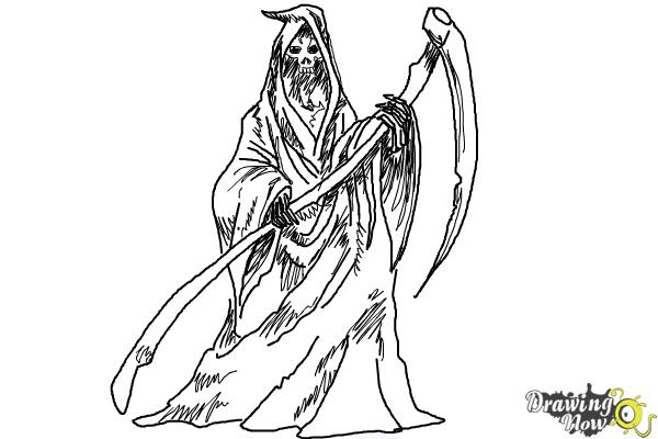 How to Draw a Grim Reaper Step by Step - Step 11