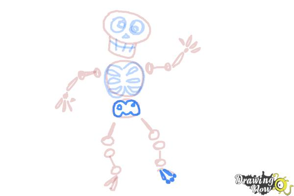 How to Draw Skeleton For Kids - Step 14