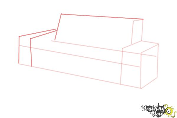 How to Draw a Sofa - Step 4