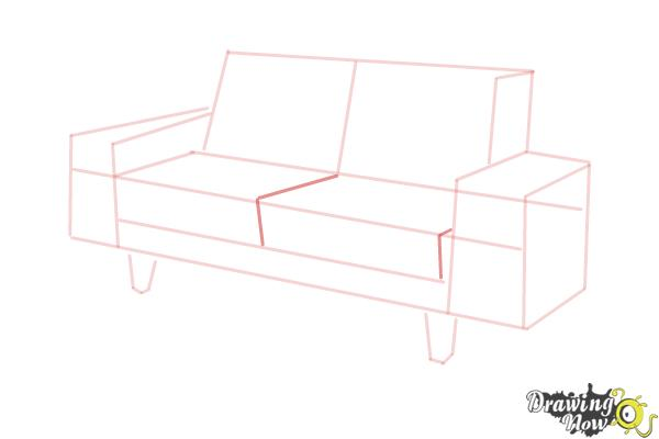 How to Draw a Sofa - Step 6