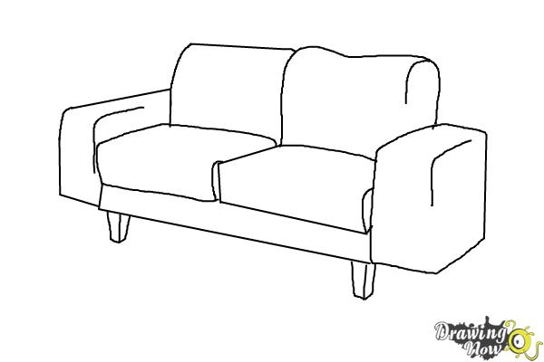 How to Draw a Sofa - Step 7