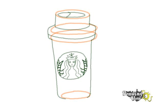How to Draw a Starbucks Cup - Step 9
