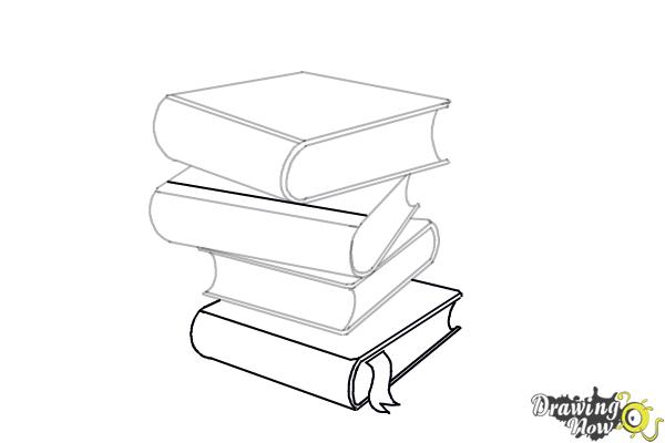 How to Draw a Stack Of Books - Step 12