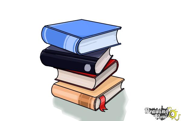 How to Draw a Stack Of Books - Step 13