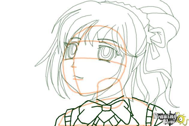 How to Draw Kurumu Korono from Rosario + Vampire - Step 7