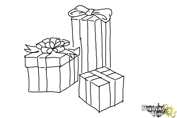 Drawings Of Christmas Presents.How To Draw Christmas Presents Drawingnow