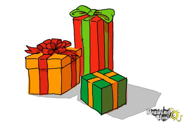 How to Draw Christmas Presents - Step 15