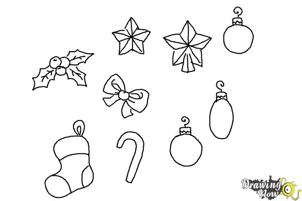 How to Draw Christmas Decorations - Step 11
