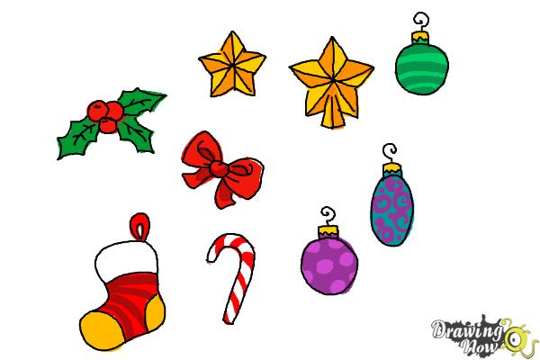 How to Draw Christmas Decorations - Step 12