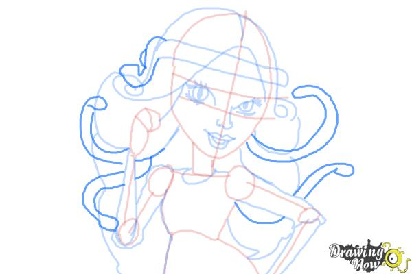How to Draw Viperine Gorgon from Monster High - Step 12