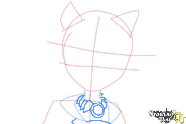 How to Draw Clawdia Wolf from Monster High - Step 6