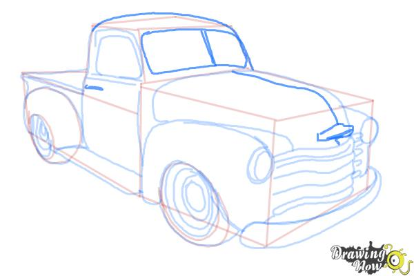 How to Draw a Chevy Truck - Step 12