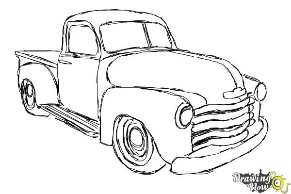 How to Draw a Chevy Truck - Step 13