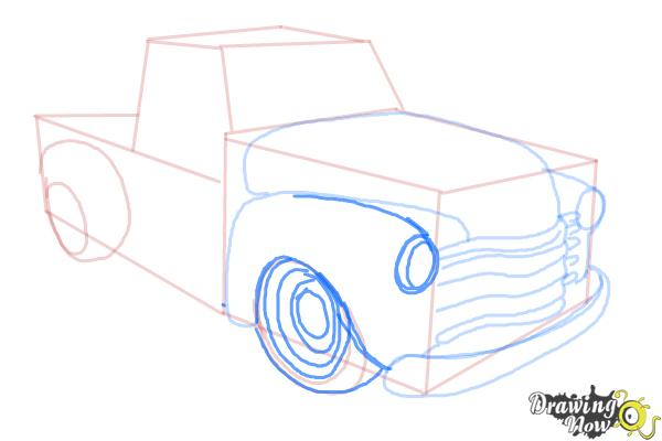 How to Draw a Chevy Truck - Step 9