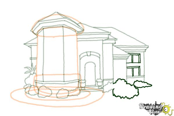 How to Draw a Dream House - Step 14