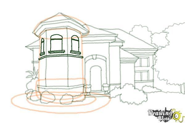 How to Draw a Dream House - Step 16