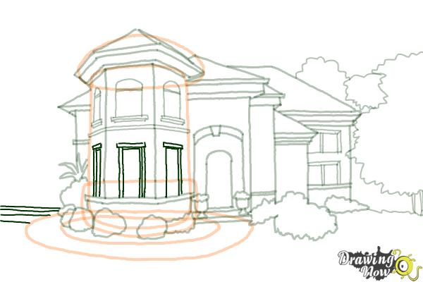 How to Draw a Dream House - Step 17