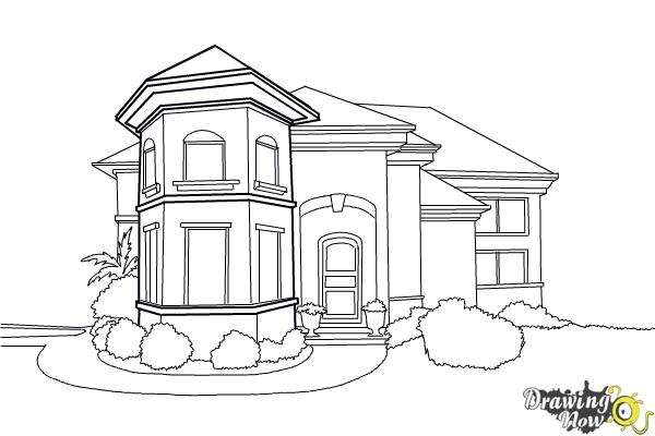 How to Draw a Dream House - Step 18