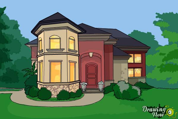 How to Draw a Dream House - Step 19