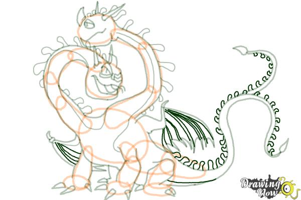 How to Draw a Hideous Zippleback Dragon from How to Train Your Dragon - Step 17