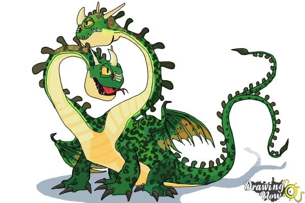 How to Draw a Hideous Zippleback Dragon from How to Train Your Dragon - Step 19