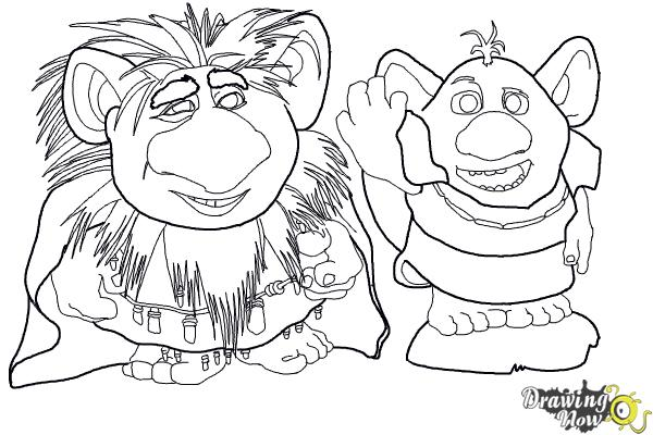 How to Draw The Trolls from Frozen - Step 19